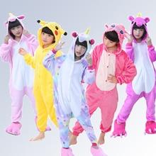 Купить с кэшбэком Unicorn Flannel Children Pajamas Set Winter Hooded Animal Pikachu Stitch Kids Pajamas For Boys Girls Sleepwear Onesies 4-12 Year