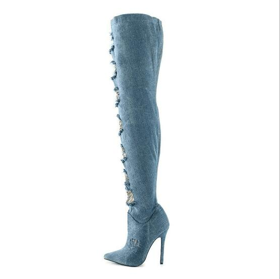 Newest 2017 Designer Blue Denim Lace Flower Over The Knee Boots Pointed Toe Side Zipper Jean Tight High Boots Big Size 10