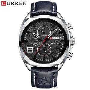 Image 5 - 男性腕時計トップブランドカレン高級レザーストラップスポーツクォーツクロノグラフ軍事腕時計メンズ時計防水レロジオmasculino