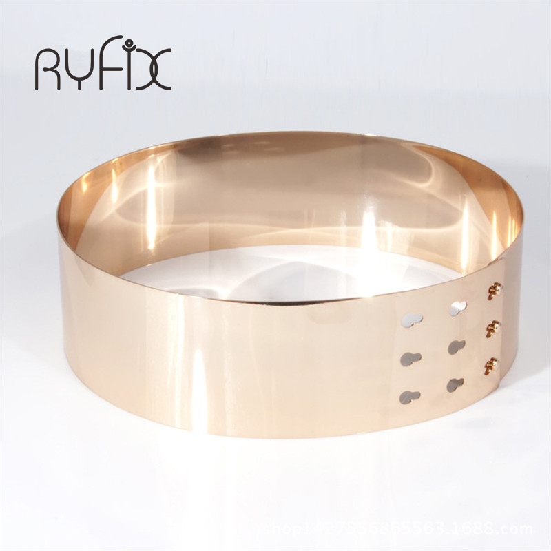 High Quality Metal Keeper Metallic Mirror 7cm Wide   Belt   Corset Women Punk Cummerbund Gold Silver love lockdown   belt   BL03