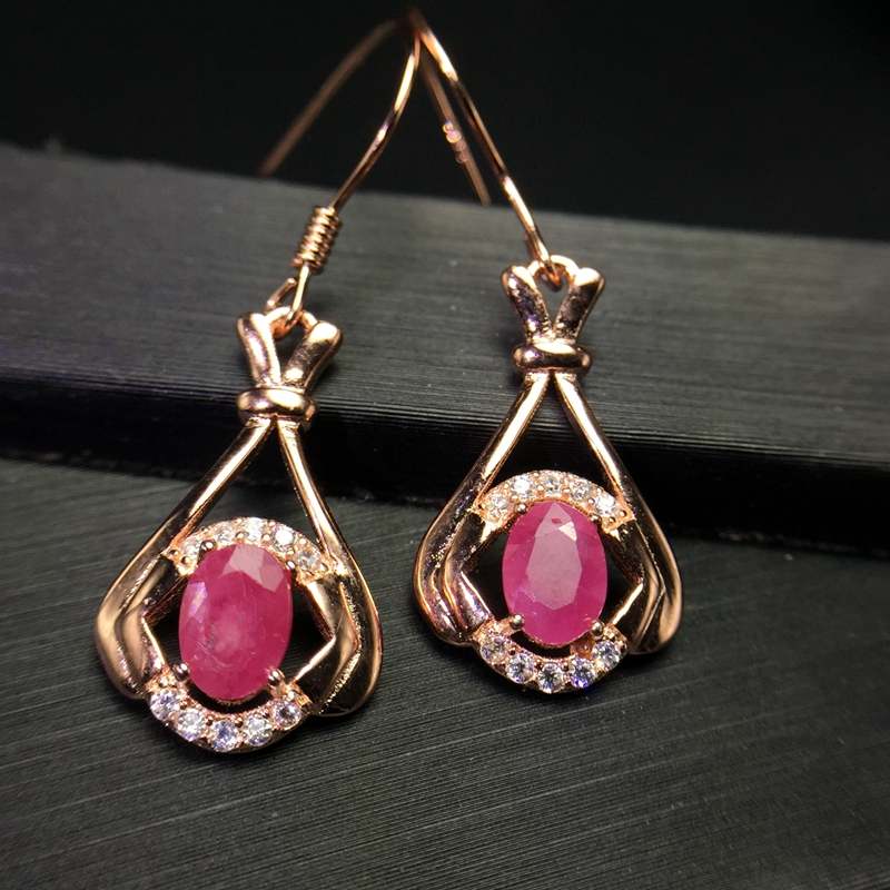 Uloveido Natural Red Ruby Drop Earrings for Women 925 Sterling Silver 4 6mm Gemstone with Velvet