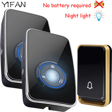 YIFAN NEW self powered Wireless doorbell no battery waterproof night light sensor smart Door Bell EU plug 1 button 2 receiver