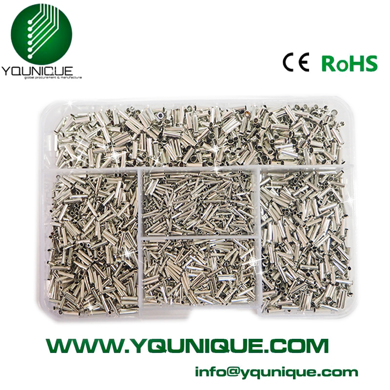 5000pcs Bootlace Ferrule Kit 0.5-2.5mm Non Insulated Terminal Electrical Crimp Cord Wire End  Ferrules wholesal e1008 insulated cable cord end bootlace ferrule terminals tubular wire connector for 1 0mm2 wire 1000pcs