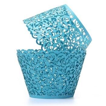 12X Filigree Vine Cake Cupcake Wrappers Wraps Cases Wedding Birthday Decorations Sky Blue Cake Molds