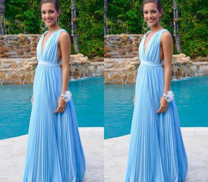 Chiffon   Bridesmaid     Dresses   2019 Sky Blue Summer Country Garden Wedding Party Guest Maid of Honor Gowns Plus Size Custom Made