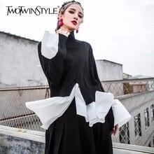 Galcaurパッチワークニットプルオーバー女性タートルネック不規則な分割ドレープフレアトップス 2020 春のファッション衣類