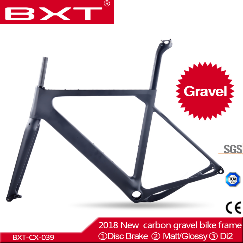 2018 NEW arrival Aero Road or MTB Bike Frame S/M/L size Cyclocross Frame Disc Bike Carbon Gravel frame+fork+seatpost+headset track frame fixed gear frame bsa carbon 1 1 2to 1 1 8 bike frameset with fork seatpost road carbon frames fixed gear frameset