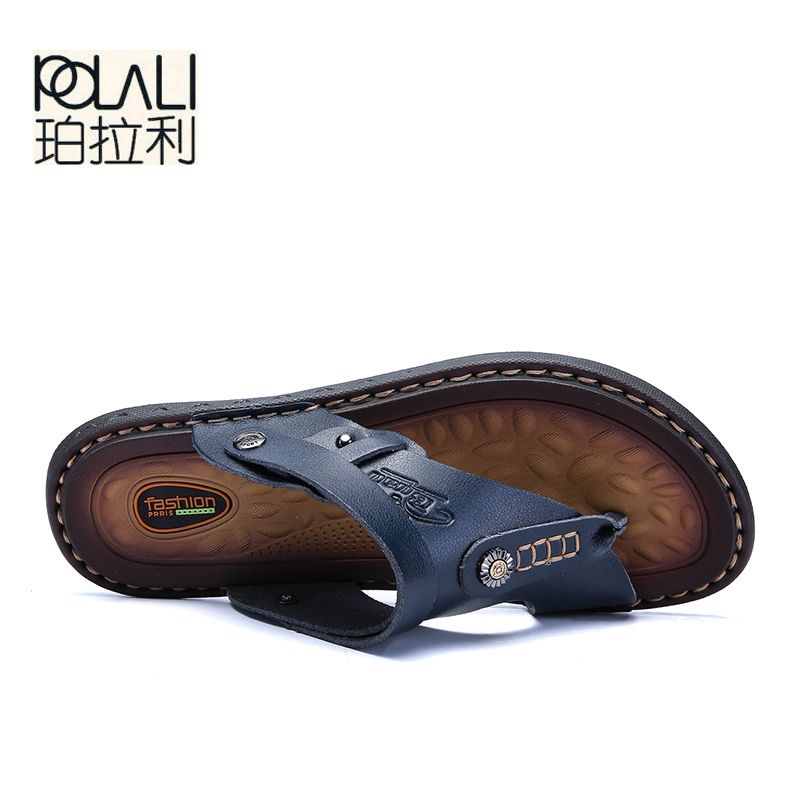 Image 4 - POLALI Men Sandals Genuine Split Leather Men Beach Sandals Brand Men Casual Shoes Flip Flops Men Slippers Sneakers Summer Shoes-in Men's Sandals from Shoes