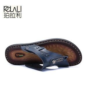 Image 4 - POLALI męskie sandały oryginalne skórzane męskie sandały plażowe marki męskie obuwie klapki kapcie męskie trampki letnie buty