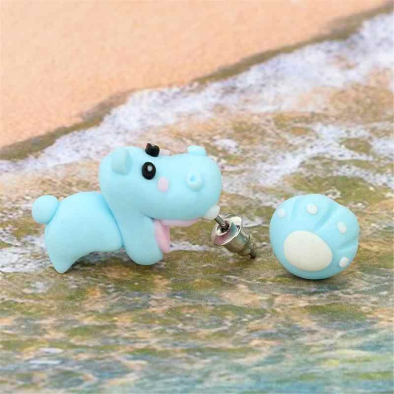 Cute Handmade Polymer Clay Blue Hippo Shape Earrings Ear Drop Studs