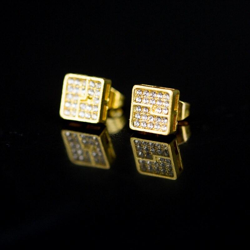 Romad Austrian Crystal Square Stud Earrings Gold Cubic Zirconia Earrings Women Men Jewelry Gift in Stud Earrings from Jewelry Accessories
