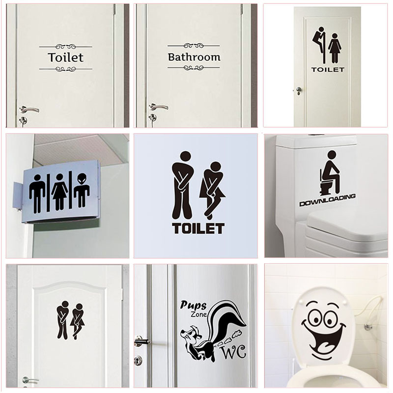 WC Toilet Entrance Sign Door Stickers For Public Place Home Decoration Creative Pattern Wall Decals Diy Funny Vinyl Mural Art(China)
