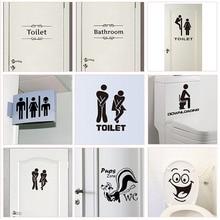 Letrero para entrada de baño WC pegatinas para puerta para lugar público decoración del hogar diseño creativo adhesivos para pared DIY vinilo divertido arte mural