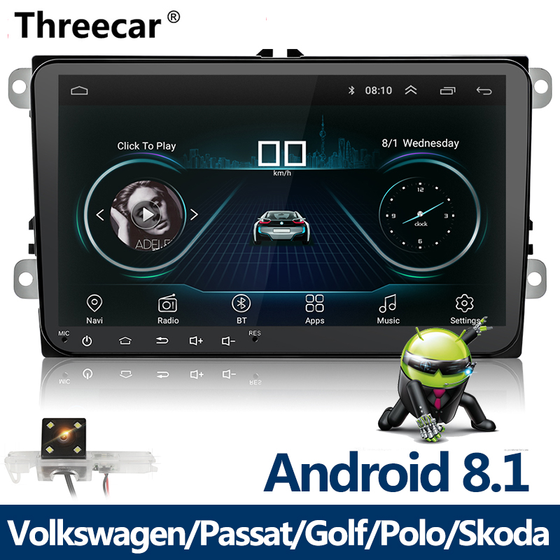 New 9 inch Car Multimedia Player <font><b>Android</b></font> <font><b>8</b></font> GPS Auto radio <font><b>2</b></font> <font><b>Din</b></font> USB For Volkswagen/VW/ Passat/POLO/GOLF/Skoda/Seat/Leon Radio image