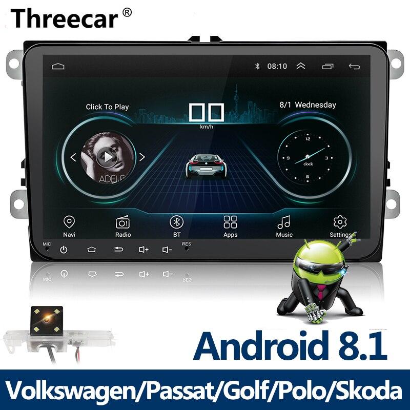 Nouveau lecteur multimédia de voiture 9 pouces Android 8 GPS Auto radio 2 Din USB pour Volkswagen/VW/Passat/POLO/GOLF/Skoda/Seat/Leon Radio