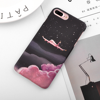 iPhone 8 Plus Case Non Slip Aircraft Stars Plastic Hard Back Cover