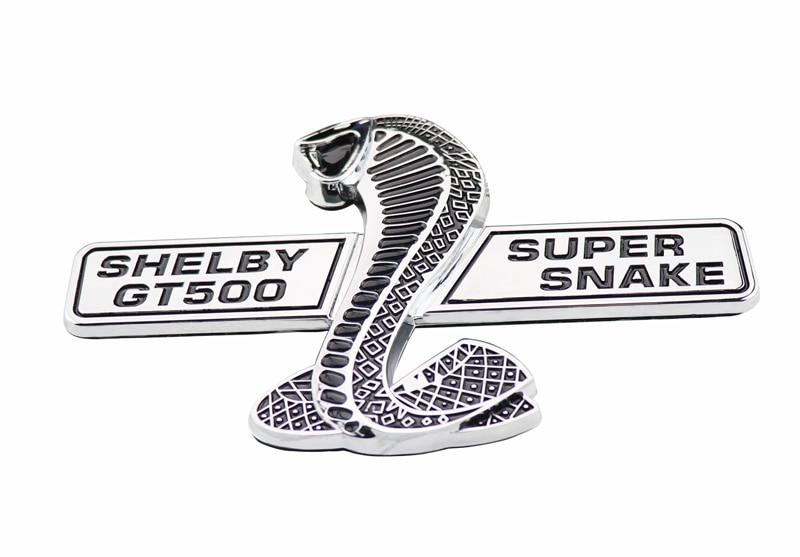 chrome super snake COBRA for shelby GT500 GT 500 Mustang Emblem Badge Sticker R auto chrome red 5 0 liter high performance for mustang emblem badge sticker