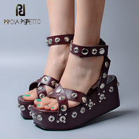 Prova Perfetto Sexy Platform Wedge Ankle Buckle Women Sandals Narrow Band Gladiator Shoes Women Rivet Studded
