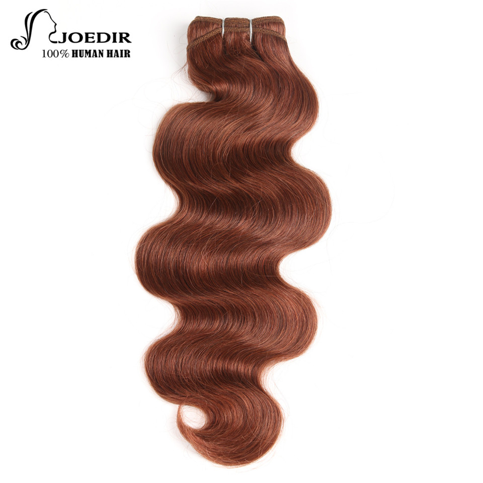Joedir Pre-Colored Brazilian Remy Human Hair Weave Body Wave Color 33# And Burg Rich Copper Red Color Hair Weft Bundle