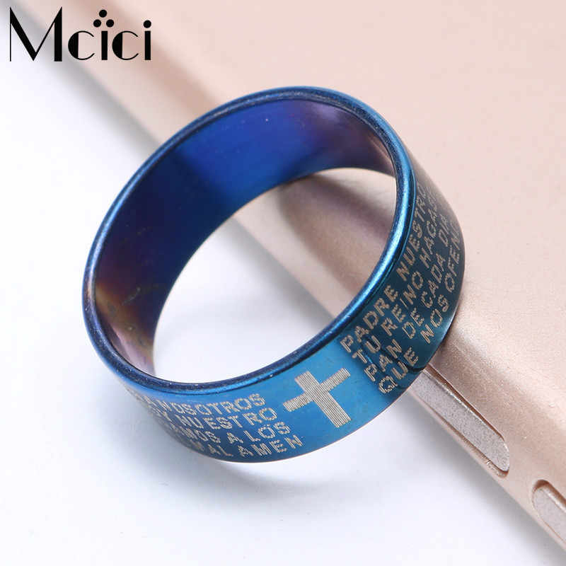 1pcs 2018 Black Blue Silver Color Jesus Bible Letter Ring for Men Lord Prayer Cross Men's Rings Stainlses Couple Belief Anel