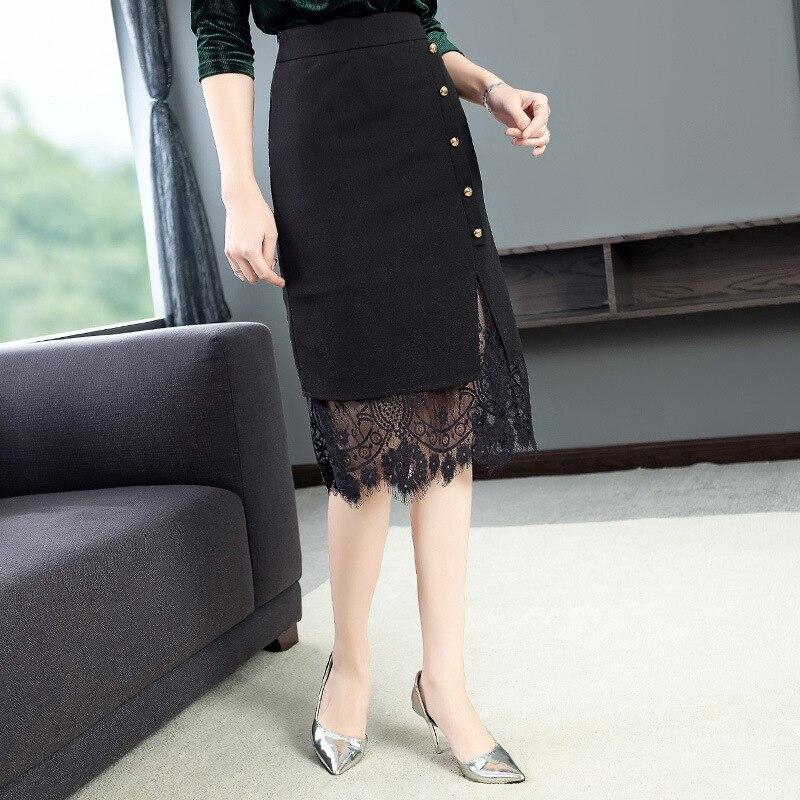 Verano Falda Camasiri Ic Alta Bodycon Encaje Patchwork Breasted De Solo Split La Mujer Bezko Calle Primavera Sexy Moda Negro tpwZwRHq