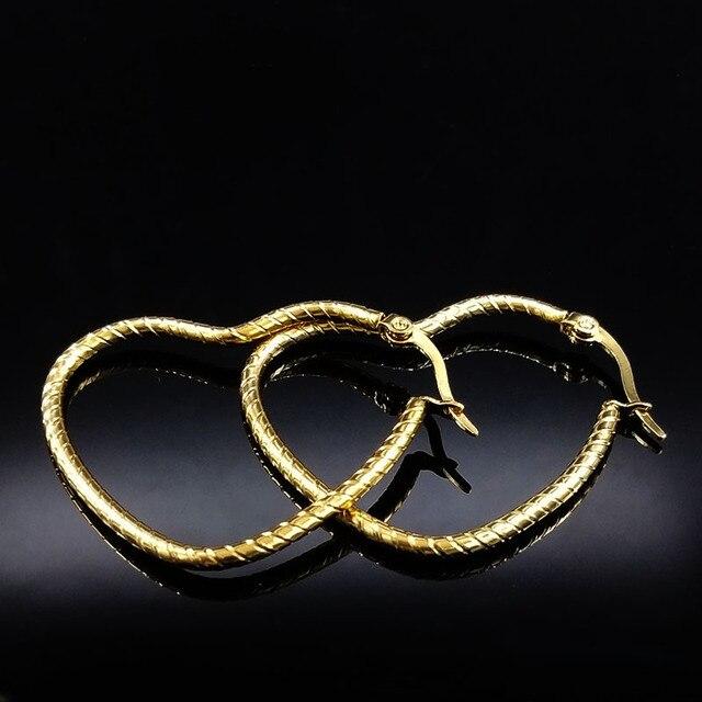 4e1dbb6e9ff0 € 2.99 |2019 nuevos pendientes de acero inoxidable de Color dorado para  mujer pendientes de aro de corazón joyería de mujer aros grandes E612213 ...
