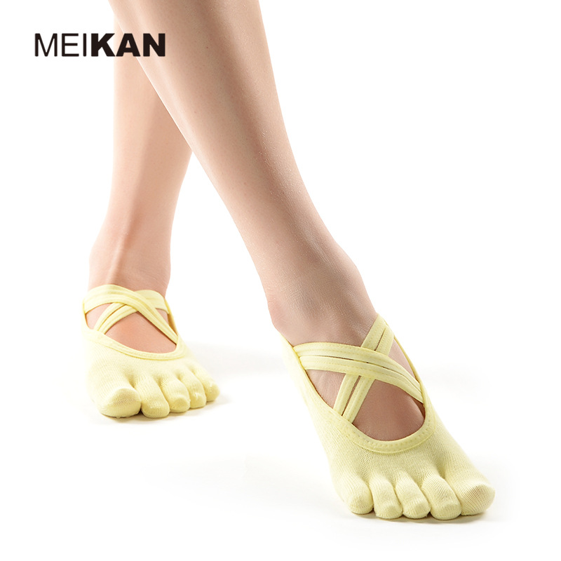 MK1725 MEIKANG Brand Women Yoga Toe Socks Anti-Skid High-Quality Toeless and 5 finger Non-Slip Dance Pilates Ballet Yoga Meias