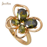 Ravishing Fashion rings for women yellow Gold Butterfly Green Cubic Zirconia ring fashion jewelry size 5.5 6.5 7.5 R284