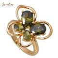 Ravishing, модные кольца для женщин, желтое золото, Бабочка, зеленый кубический цирконий, кольцо, модное ювелирное изделие, Размер 5,5, 6,5, 7,5, R284 - фото