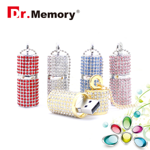 Image 1 - Luxury Rhinestones Diamonds USB Flash Drive High Quality Memory Stick Waterproof Pen Drive 4G 8G 16G 32G 64G Memory U Flash Disk