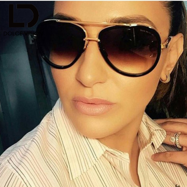 dcdcf5609b DOLCE VISION Pilot Sunglass Women Gradient Lens Brand Design Shades Ladies  Pilot Sun Glasses For female