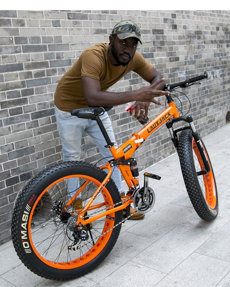 "HTB1nETrXovrK1RjSspcq6zzSXXaI LAUXJACK Fat Bike Full Suspension Steel Foldable Frame 24 Speed Shimano Mechanic Brake 26""x4.0 Wheel"