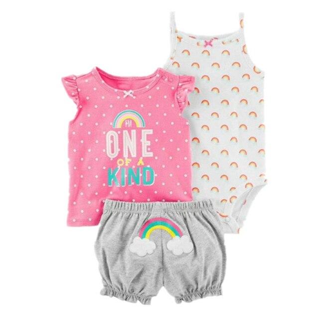 2019 orangemom roupas da menina do bebê flor bodysuit + shorts + camiseta 3 pçs roupas do bebê menina para o bebê conjunto, vestidos super agradáveis