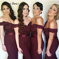 Honey Qiao Bridesmaid Dresses 2017 Burgundy Navy Blue Satin Off the Shoulder Applique Sweep Train Long Sexy Elegant Prom Gowns