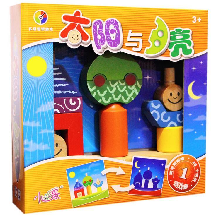 En bois jouet en bois forme couleur bloc soleil et lune Puzzle Conseil Jeu Enfants Jeu Éducatif de Jouets pour Enfant enfant