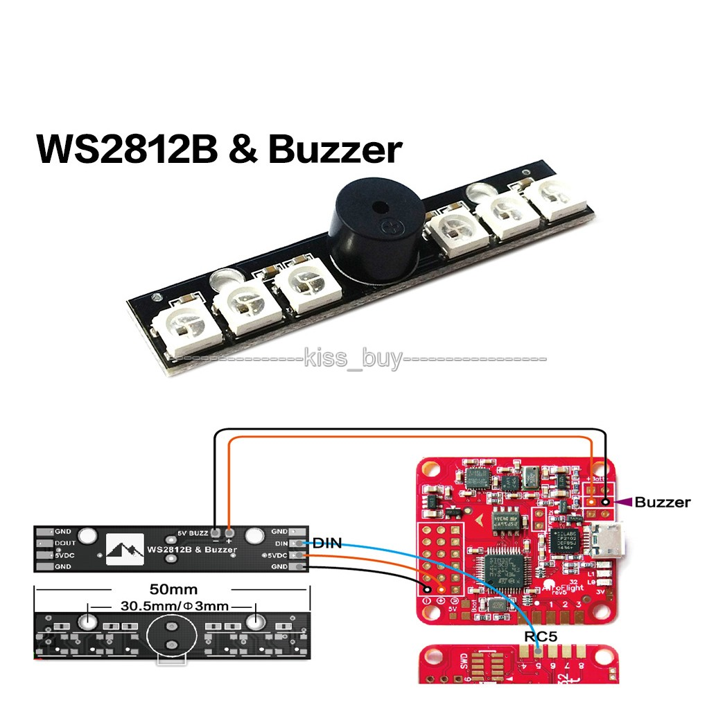 5V Active Buzzer & WS2812B LED 6 RGB LED Indicator light for NAZE32 car