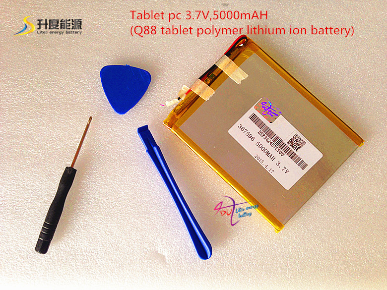 Tablet pc 3.7V,5000mAH (Q88 tablet polymer lithium ion battery) Rechargeable battery for tablet pc 7 inch 8 inch 9inch [367596] sketches in lavender blue and green