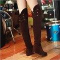 2016 Nuevas Mujeres planas botas hasta la rodilla botas de alto de la pierna de las señoras matorrales de moda puede remache aumentó botas altas de las mujeres negro Nysiani