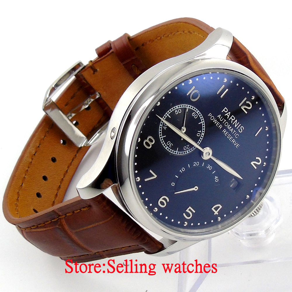 Parnis 43mm black dial power reserve indicate seagull 2530 Automatic men s watch