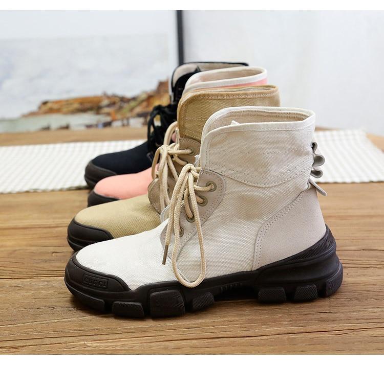 Tubo Estudiante rosado Solos Harajuku negro Planos caqui Viento Nuevo Beige Corea Lona Causales Corto Alta De Otoño Retro Zapatos Martin xvYg67qw4U