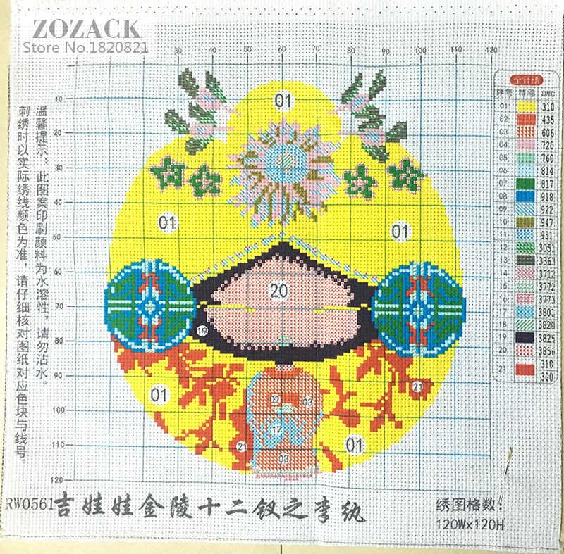 12 muster, DIY DMC Chinesische Kreuz stich gedruckt auf canva, Stickerei kits, Cartoon zeichen, auspicious puppen, Japanischen stil