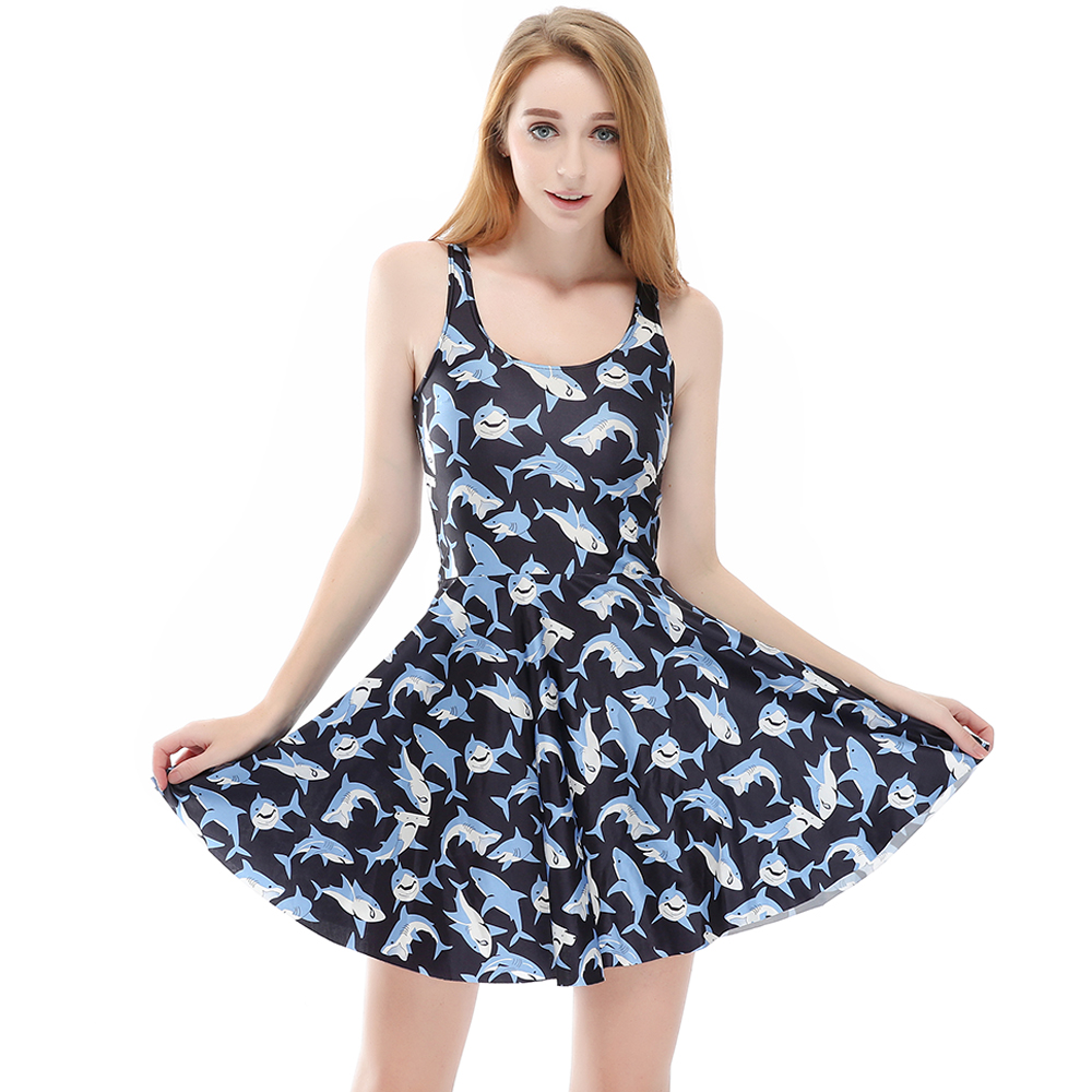 Hot Sales Dolphin Big Size Summer Skater Dress Brown Dogs Angle Print Sleeveless Blue Dresses S To 4xL