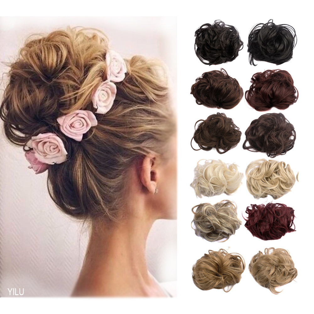 1pc 35g Curl Synthetic Hair Bun Plaited Wrap Elastic Hair