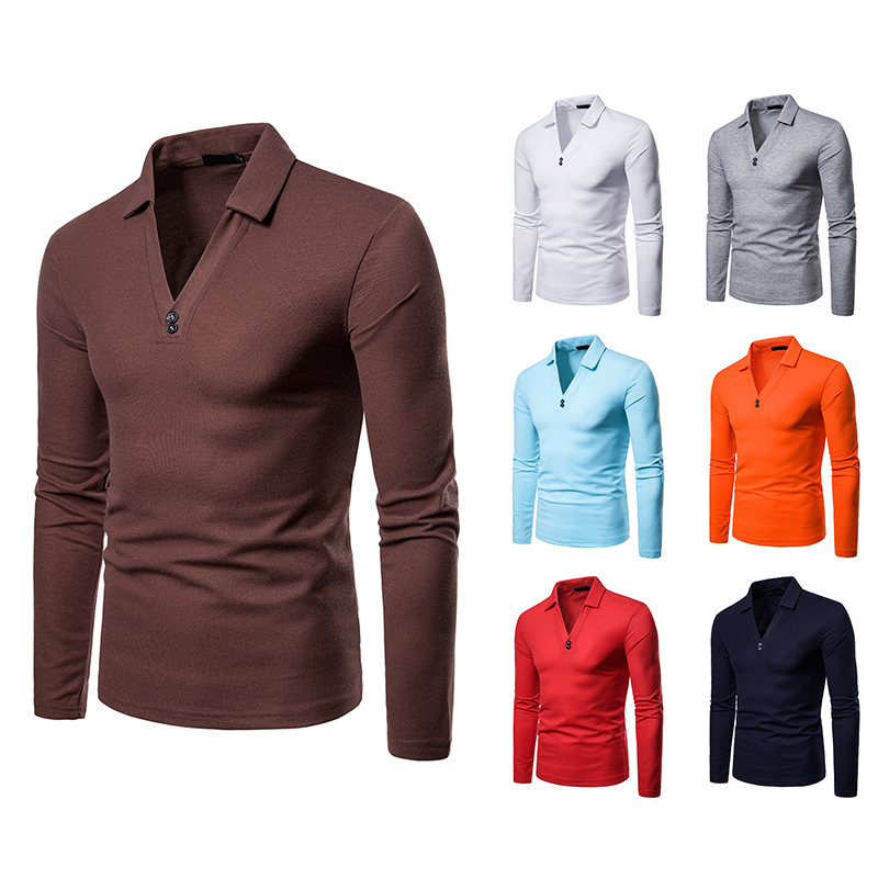 Casual   polo   shirt men cotton solid long sleeve   polo   for men new fashion clothes slim fit Hombre   Polo   Breathable