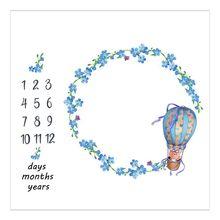 Newborn Baby Milestone Number Flower Balloon Bear Pattern Mat Blanket Photography Background Backdrop Cloth