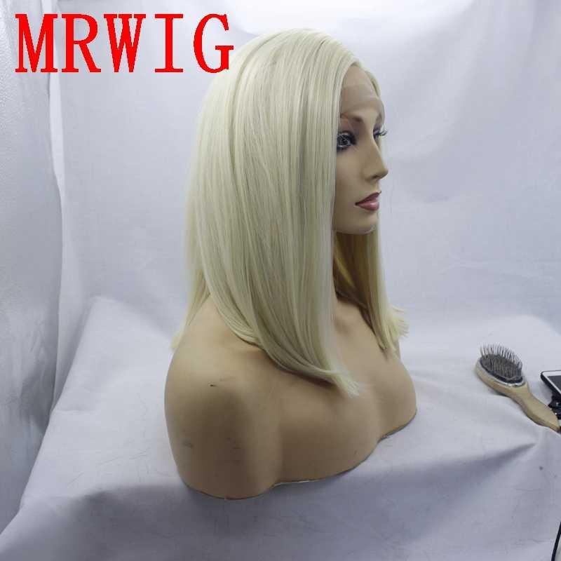 MRWIG #613 блонд синтетический передний парик шнурка короткий Боб прямая, боковая часть левая 12in для афроамериканцев