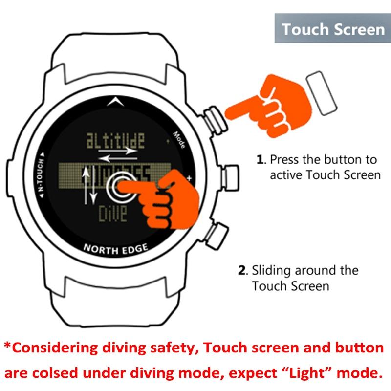 North Edge Men Diver Watch Waterproof 100M Smart Digital Watch Sport Military Army Diving Swimming Altimeter Compass Clock