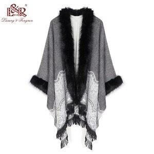 Image 2 - 2020 Winter Foulard Women Poncho With Fur Collar Floral Female Cashmere Shawls Scarf Jacquard Skill Warm Pashmina Poncho Tassel