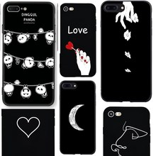 White hand Rose Case For iPhone 8 Plus Panda Case Silicone Black Soft Tpu For Coque iPhone 7 8 Plus For iPhone10 5 5S SE 6 6S X