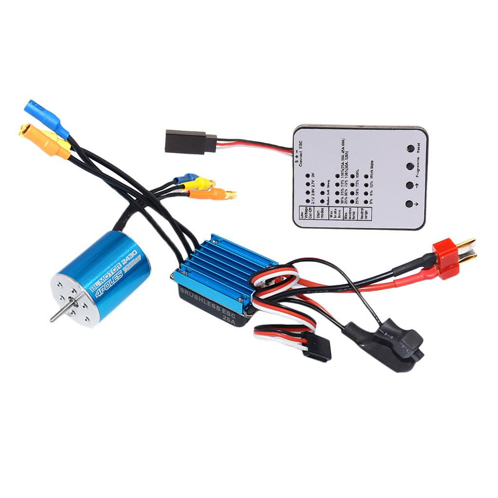 2430 7200KV sans capteur moteur Brushless + 25A ESC + LED carte de programme pièces de rechange accessoires pour 1/16 1/18 RC voiture camion Buggy